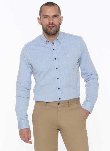 Beymen Business 4B2020100054 Mavi Slim Fit Gömlek İpliği Boyalı Mavi